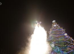 Запалване на коледните светлини в Благоевград с дрон 2014